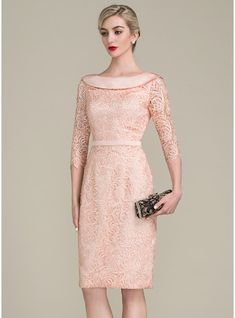 Sheath/Column Off-the-Shoulder Knee-Length Lace Mother of the Bride Dress With Bow(s) - Mother of the Bride Dresses - JJsHouse Evening Dresses With Sleeves, Lace Evening Gowns, Mermaid Evening Dresses, Nice Dresses, Event Dresses, Wedding Party Dresses, Bridesmaid Dresses, Vestidos Fashion, Fashion Dresses