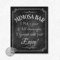 Mimosa Bar Printable Chalkboard Wedding Sign // by PrintablePixels