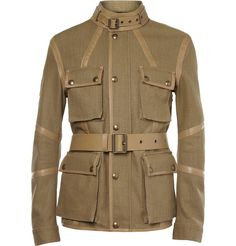 Belstaff coated linen and leather jacket with articulated sleeves and engraved brass hardware is actually borrowed from the boy's. It just needs to be properly belted for a feminine, waist-defining look.
