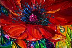 Modern Flower Canvas Oil Painting Poppy Red Poppies por willsonart