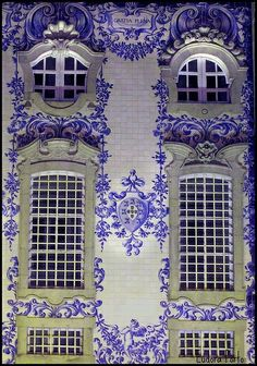 Portuguese Blue and White Tiles | Portugal at night, tile façade      just a wow factor
