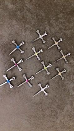 Horseshoe nail cross pendants