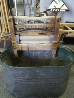 Antique Brighton Wash Tub & Stand With Antique Artmoore Wringer and Drying Rack + Canning Pot