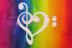 Melted Crayon Art- Treble and Bass Clef Heart via Etsy by CrayonstoCanvas