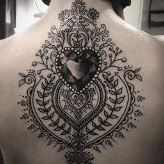 Heart gem and filigree tattoo ...
