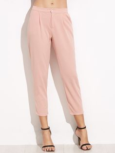 512898947f9a7 Casual Plain Tapered/Carrot Regular Elastic Waist and Zipper Fly Mid Waist  Pink Capris Length Elastic Waist Slim Leg Crop Pants