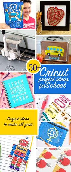 50 Cricut Project Ideas to make for School. From fun t-shirts to diy binders and other school supplies theres all kinds of quick crafts you can make with your Cricut for the whole school year. Personalize your stuff in minutes! Cricut Explore, Teacher Appreciation Gifts, Teacher Gifts, Diy Vinyl Projects, Cricut Tutorials, Cricut Ideas, Cricut Craft, Quick Crafts, Kids Crafts