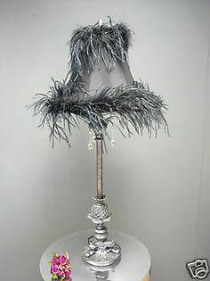 Black Feather Boudoir Vintage Chic Bedside Table Lamp | eBay