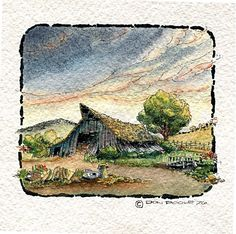 """pen and ink with watercolor old barn  small 3 1/2"""" x 3 1/2"""""""