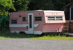 """PINK trailer- I'd love to have something like this set up back in the woods. the place to camp out for a few days or have as a """"girl cave"""". kinda like a man-cave. hahaha"""