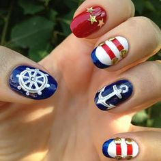 of July Nautical Nails with Gold Accents: This nautical theme inspired red, white, gold and blue nail art is very easy to recreate. And it speaks perfectly to the upcoming particular American holiday of ours. Nautical Nail Designs, Nautical Nail Art, Dark Nail Designs, Nail Art Designs, Nautical Theme, Navy Nails, Gold Nails, White Nails, Aztec Nails