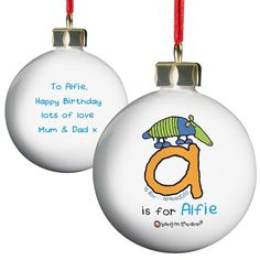 Personalised Bang on the Door Animal Alphabet Boys Bauble  from Personalised Gifts Shop - ONLY £10.99