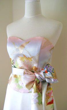 Wedding dress with vintage KIMONO top OBI bow sash by Shantique, $980.00