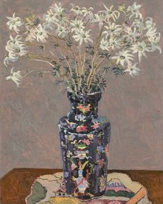 From Jan Murphy Gallery, Lucy Culliton, Flannel flowers, Chinese vase Oil on board, 75 × 60 in