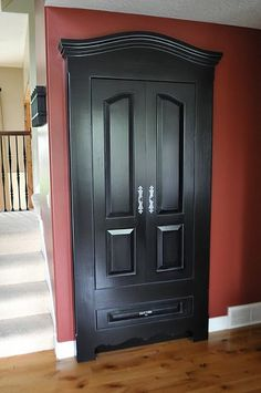 Make an ugly closet door look like a piece of furniture. Love this idea.