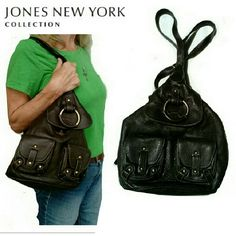 """BEAUTIFUL JONES NEW YORK  LEATHR BACKPACK JONES OF NEW YORK BROWN PEBBLED LEATHER BACKPACK/SLING OR BUCKET HANDBAG CAN BE WORN ON THE SHOULDER AS A SLING OR A BACKPACK CAN BE ENTERED FROM TOP OR BACK 2 FRONT POUCHES & ONE FLAP W/MAGNETIC CLOSING VERY CLEAN AND NO WEAR OR TEAR ON STRAPS OR PIPING. GOLD HARDWARE /BACK STRAPS/ZIPPERED BACK L13"""" W10"""" W/STRAPS 23"""" EXCELLENT CONDITION Jones New York Bags Backpacks"""