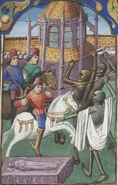 Los muertos amenazan a los vivos en un cementerio. Libro de Horas, Francia (1475-1500). Ms. Free Library of Philadelphia. Lewis E 212 151r.   Diogenes' Child – Los Hijos de Diógenes Blog.