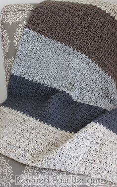 Crochet Pattern Natural Striped Blanket :: Rescued Paw Designs