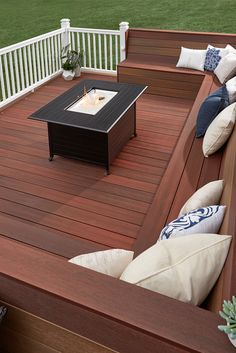 Thinking about a building a new deck? From selecting materials and contractors to budgeting for your dream deck- we've got you covered. Learn more in our Ultimate Deck Planning Guide. Deck Bench Seating, Deck Ideas With Built In Seating, Wood Deck Railing, Wood Decks, Wood Deck Stain, Wood Pool Deck, Deck Colors, Deck Stain Colors, New Deck