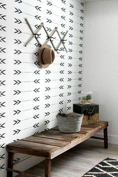 Wallpaper Accent Wall - Arrows vinyl wallpaper, self adhesive, temporary, removable nursery Decor, Interior, Small Mudroom Ideas, Decor Inspiration, Home Decor, Modern Rustic, House Interior, Interior Design, Modern Entryway Decor