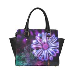 Purple glowing flower with abstract background Classic Shoulder Handbag by Tracey Lee Art Designs Glowing Flowers, Shoulder Handbags, Shoulder Bag, Abstract Flowers, Abstract Backgrounds, Art Designs, Purple, Trending Outfits, Tote Bags
