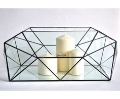 Glass box Ark with lid / Geometric Glass Candle holder / Stained Glass Terrarium / Handmade Glass Terrarium