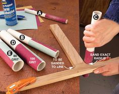 Stick sandpaper to cutoff pieces of PVC pipe with spray adhesive. 1/2-in. i.d. = 7/8-in. o.d. 3/4-in. i.d. = 1-in. o.d. 1-in. i.d. = 1-1/4-in. o.d. 1-1/4-in. i.d. = 1-5/8-in. o.d. 1-1/2-in. i.d. = 1-7/8-in. o.d. Spray paper & pipe with a generous layer of adhesive. Let dry several minutes before joining them. Use two grits on each pipe—80for sculpting a precise radius, and 100-120-for finish sanding. When the sandpaper's worn out, pull it off, spray fresh adhesive on a new strip & go
