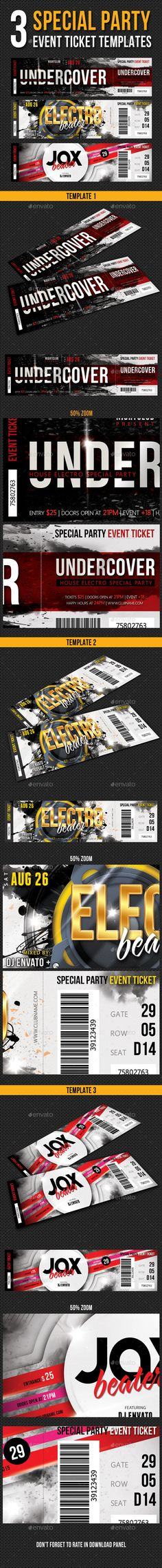 Inverto Party Event Ticket V3 Event ticket, Print templates and - party tickets templates