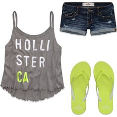 Yellow and grey Hollister outfit