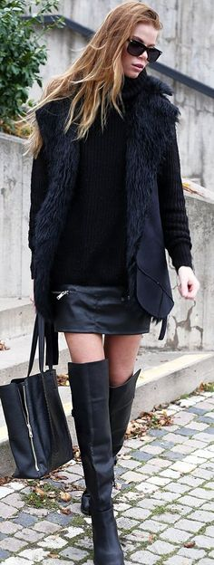 All Black Street Chic / fall fashion Inspiration.