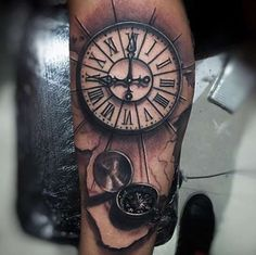 Compass & Clock Tattoo by Miami Tattoo
