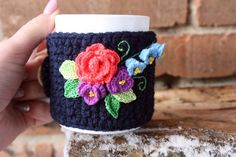 The length of the crochet mug cozy - 27 cm inches). The height is 7 cm For the standa Crochet With Cotton Yarn, Crochet Yarn, Easy Crochet, Crochet Bear Patterns, Crochet Ideas, Crochet Coffee Cozy, Coffee Cup Sleeves, Crochet Gifts, Crochet Accessories