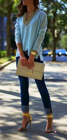 nude purse, blue top, jeans, heels, summer style apparel women clothing outfit fashion marysa style