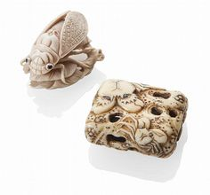 TWO JAPANESE CARVED IVORY NETSUKE 19TH CENTURY a cicada perched on a leafy branch, signed Okatomothe; three crabs clinging on to a rock, eyes inlaid in dark horn (2) largest 4.5cm long