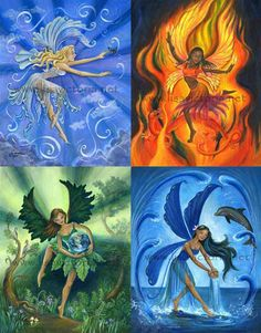 earth wind fire and water elements Earth Air Fire Water, Earth Wind & Fire, 4 Elements, Elements Of Nature, Fantasy Kunst, Fantasy Art, Arte Sketchbook, Water Element, Mythological Creatures