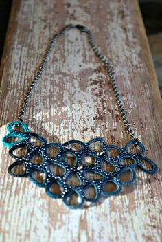 Crochet Necklace Fiber Jewelry Dark Teal Bib by LavenderField