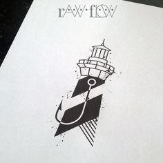 Minimal lighthouse tattoo hook geometric black tattoo forearm Cape Hatteras