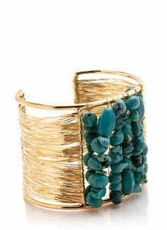 wired stone cuff bracelet