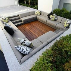 Policrete is Melbourne's expert in pouring & polishing concrete. We work with architects, homeowners & builders looking for stylish polished concrete flooring. Backyard Seating, Backyard Patio Designs, Outdoor Seating Areas, Outdoor Lounge, Outdoor Rooms, Sunken Patio, Sunken Fire Pits, Sunken Garden, Modern Backyard