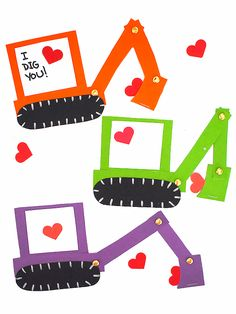 This Excavator Valentine Craft has movable parts! Perfect for scooping up hearts this Valentine's Day. With Free Printable Template! Valentine's Day Crafts For Kids, Valentine Crafts For Kids, Kid Crafts, Cute Crafts, Craft Stick Crafts, Lion Craft, Dinosaur Valentines, Elephant Crafts, Dinosaur Cards