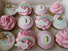 unicorns and rainbows for a birthday Girl Birthday Cupcakes, 1st Birthday Cake For Girls, Girl Birthday Themes, Girl Cupcakes, Themed Cupcakes, Cute Cupcakes, First Birthday Cakes, Cupcake Party, Unicorn Birthday Parties