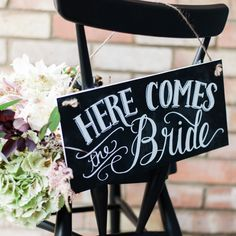 Here Comes The Bride | Image by Ashlee Taylor | Sign from The Wedding Of My Dreams | http://www.rockmywedding.co.uk/stylish-helpful-signage-for-your-wedding-day/