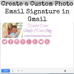 Create a Custom Photo Email Signature in Gmail. Personalize your signature with all of your social media links. Professional Email Signature, Signature Ideas, Create Your Own Blog, Email Signatures, Social Media Marketing Business, Business Inspiration, Blog Design, Blogging For Beginners, Custom Photo