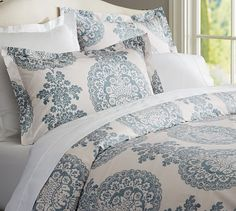 Shop lucianna medallion duvet cover from Pottery Barn. Our furniture, home decor and accessories collections feature lucianna medallion duvet cover in quality materials and classic styles. Organic Duvet Covers, Bedroom Green, Home Bedroom, Bedroom Decor, Bedroom Ideas, Master Bedrooms, Bedroom Designs, Master Bathroom, Bed Sets