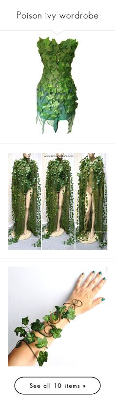 """""""Poison ivy wordrobe"""" by scarlet-batgirl ❤ liked on Polyvore featuring costumes, costume, dresses, halloween, green costumes, green halloween costume, poison ivy halloween costume, poison ivy costume, hair and powers"""