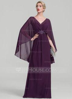 Corte A/Princesa Escote en V Hasta el suelo Gasa Vestido de madrina con Volantes Cuentas (008114249)