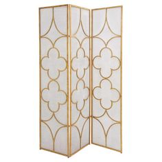Section off a space in your living room or master suite with this stylish room divider, featuring a quatrefoil motif and an eye-catching gold finish.