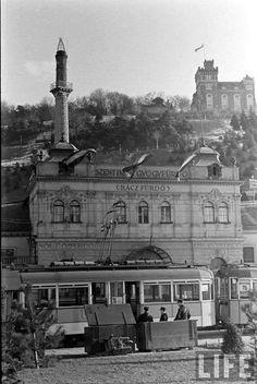Az 53-as, 69-es, és 76-os villamosokvégállomása 1945-ig a Rácz fürdőnél volt Old Pictures, Old Photos, Vintage Photos, Most Beautiful Cities, Budapest Hungary, Vintage Photography, Historical Photos, Paris Skyline, The Past