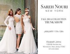 In search of the perfect gown? Stop by our Morristown location for the #SarehNouri Bridal #trunkshow on Friday, January 17th (10am-5pm), Saturday, January 18th (10am-6pm) and Sunday, January 19th (12pm-5pm)