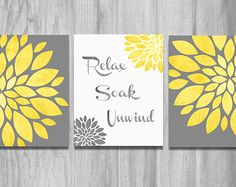 Bathroom Wall Art Set Prints Vintage Modern Relax Soak Unwind Flower Prints Home Decor Yellow Gray CUSTOM Word Art
